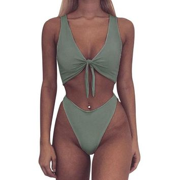 2 Two Piece Bikini 2018 Two Piece Swimsuit Sexy High Cut Women Swimsuit Backless Hollow Out Monokini Bathing Suit Front Knot Beachwear Bodysuit KO_21_2