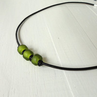 Leather necklace green pony glass beads knotted cords unisex necklace men women
