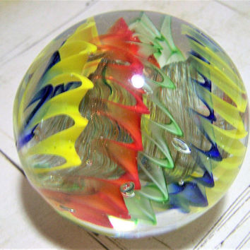 Large Blown Art Glass Latticino Marble in Crystal Nest Paperweight, Multi Color Twisted Swirl, Clear Cased, Home and Office Decor  517