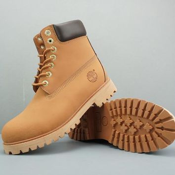Timberland Leather Lace-Up Boot High Camel Dark Brown - Best Deal Online