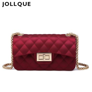Jollque 6 Colors Mini Jelly Bag Metal Chain Belt Party Famous Brand Shoulder Message Bags Small PVC Quilted Handbag Gift Child