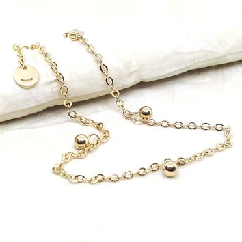 """4-3307-h2 Gold Plated over Steel Ball Charms Anklet. 10"""""""
