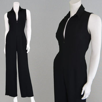 Vintage 70s 80s DAKS Black Jumpsuit Wide Leg Palazzo Pants Mod Catsuit 60s Style Gogo Outfit Womens Jumpsuit All in One Glam Disco Overalls