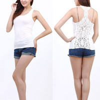 Crochet Lace Back Patchwork Tank Top