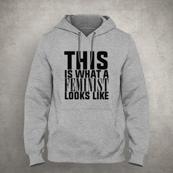 This is what a Feminist looks like - Feminism - Gray/White Unisex Hoodie - HOODIE-058