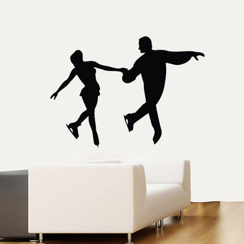 Wall Decals Figure Skaters Ice Skating Sport Man Woman People Home Vinyl Decal Sticker Kids Nursery Baby Room Decor kk518