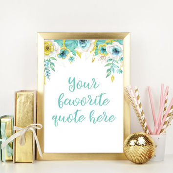 Custom quote print, Floral watercolor quotes, Personalized welcome sign, Printable wall art for nursery, Mint green baby shower decorations
