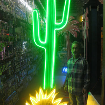 Vintage 1980's NEON CACTUS Sign / Huge 9 FT. Tall! - Movie set piece -