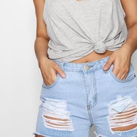 Plus Libby Bum Rip Frayed Denim Short | Boohoo