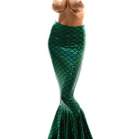Emerald Green Shimmering Hologram Dragon Scale Mermaid Tail Skirt  Made to Order -E7166