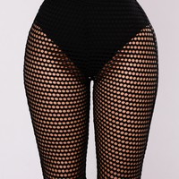 Alaina Fishnet Shorts - Black