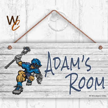 "Lacrosse Sign, Rustic Sports Room Sign, Personalized Sign, Kid's Name, Kids Door Sign, Baby Nursery Art, 5"" x 10"" Sign, Style 2"