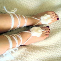 White Barefoot Sandals Crochet Beach Sandals Floral Boho Sandals Foot Jewellery Wedding Accessory Women Fashion Accessories