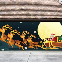 Christmas Garage Door Cover Banners 3d Santa In A Sleigh Holiday Outside Decorations Outdoor Decor for Garage Door G32