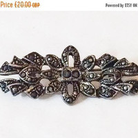 Half Price Sale Marcasite Bow Brooch, Art Deco Vintage Jewelry SUMMER SALE