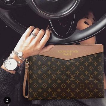 LV Louis Vuitton Popular New Fashion Men Women Monogram Leather Office Bag Zipper Purse Wallet Handbag Brown