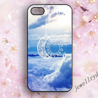The moon and the sun iPhone 5s Case,iphone 5/5c case,blue Sky samsung galaxy s3 s4 s5 case,white clouds Hipster iPhone 4/4s case