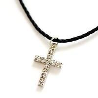 Crystal Cross Choker Necklace