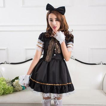 The Unique New Design Cosplay Maid Outfit Fashion Lolita Princess Dress Sexy Anime Daily Black Dress Suits