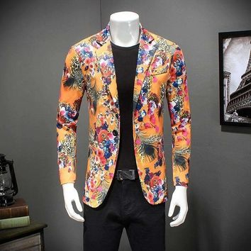floral blazer men jacket slim fit luxury print singer performence costume one button casual suit jacket