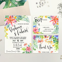 Tropical Wedding Invitation Printable Destination Wedding Invite Beach Wedding Invitation Suite Hawaii Hibiscus Wedding Invite Digital File