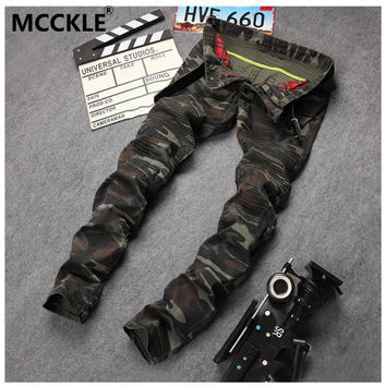 Men's Camouflage Motorcycle Camo Military Slim Fit Designer Biker Jeans With Zippers