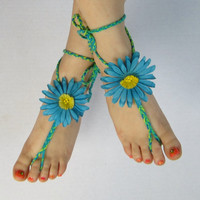 FLOWERS and BEADS BAREFOOT sandals blue yellow green braided hippie sandals
