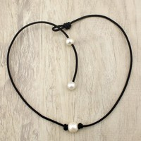Single Freshwater Pearl Choker Necklace on Black Genuine Leather Cord for Women 14-19 Inches Avaiable