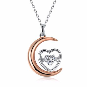 "Rose Gold Plated Sterling Silver Moon and Love Heart Pendant Necklace Engraved ""I Love You To The Moon and Back"""