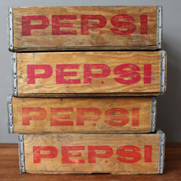 Vintage pepsi Wooden Soda crate - 4 available