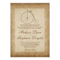 Antique Bicycle Vintage Burlap Wedding Invitations