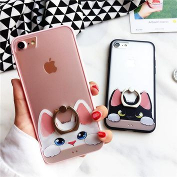iPhone 7 8 Plus Luxury Kitty Cat Pattern Slim  Cover For iPhone 6 6S Plus With Ring Stand Holder