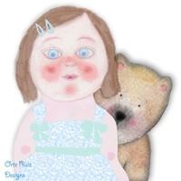 Pretty girl with bear by Orte Ruiz Designs on Crated