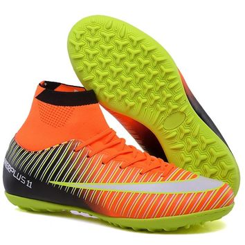 Sufei Men Football Boots TF Futsal Turf Soccer Shoes Superfly High Ankle Sock Cleats Outdoor Professional Sport Trainer