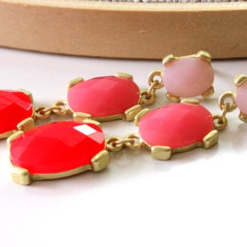 NEW post earrings - lovely post with orange, pink and baby pink colors - LAST PAIR