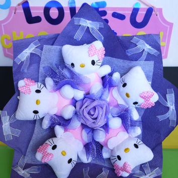 Pink Kitty Doll Flower Bouquet. Adorable birthday/wedding/christmas gift!
