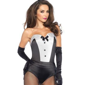 ONETOW 3PC.Classic Bunny,teddy w/clear straps,tail,ear headband in BLACK/WHITE