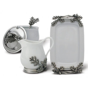 Blueberry Porcelain & Pewter Creamer Set