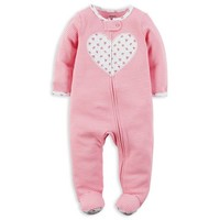 carter's® Snap-Front Heart Striped Footie in Pink