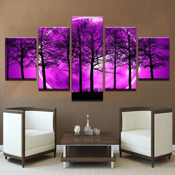 5 Pieces Purple Moon Night Psychedelic Forest Painting Wall Art Trees
