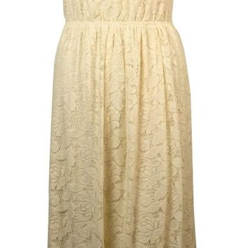 Bar III Women's Sleeveless Lace Overlay Maxi Dress