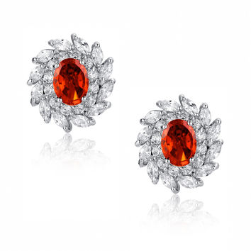 Red Oval and Clear Swirling Cubic Zirconias Stud Earrings