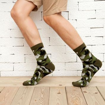 5 Pairs Fashion Brand Mens Camouflage Socks Lot Warm Camo Casual Cotton Socks