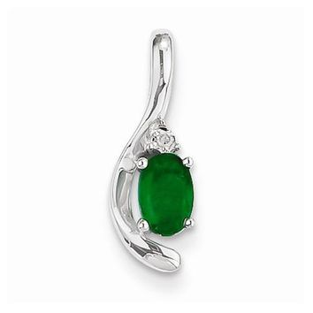 14k White Gold Genuine Emerald Diamond pendant