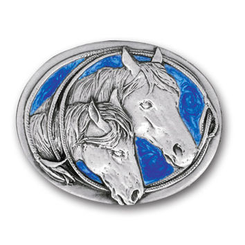 Two Horse Heads  Enameled Belt Buckle