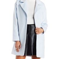 Lt Blue Wool Blend Trench Coat with Pockets by Charlotte Russe