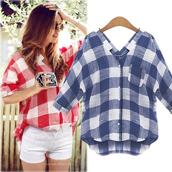 Plaid V-neck Batwing Sleeve Half-sleeve Shirt [37755289626]