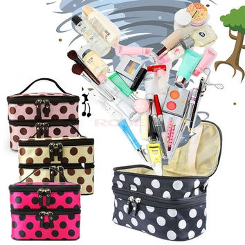 Women Portable Cosmetic Retro Dot Pattern Beauty Makeup Hand Case Bag SV000170 = 1652433732