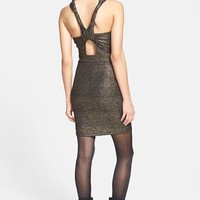 ASTR Twist Strap Metallic Body-Con Dress | Nordstrom