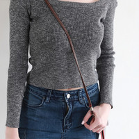 Gray Knitted Crop Top